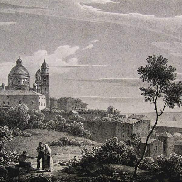 Giuseppe Bisi, Veduta della basilica e del ponte di Carignano, litografia su papier de Chine, Milano, 1828, da Lit. Vassalli