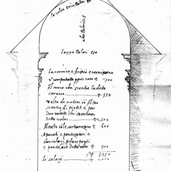 Galeazzo Alessi, preventivo per la costruzione delle decorazioni della volta e del tetto di una navata della chiesa, 1561, Archivio Durazzo Giustiniani, Archivio Sauli, n. 10