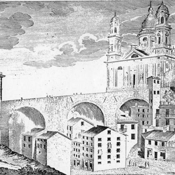 Antonio Giolfi, Veduta della basilica e del ponte di Carignano, acquaforte realizzata da G.L. Guidotti, seconda metà del XVIII secolo